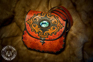 Leather Victorian Scroll-Work Bag with Labradorite