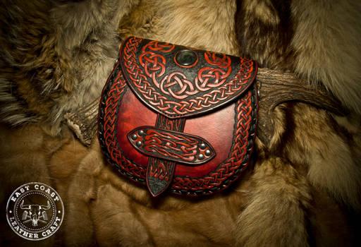 Leather Crossbody Purse - Celtic Knot-Work