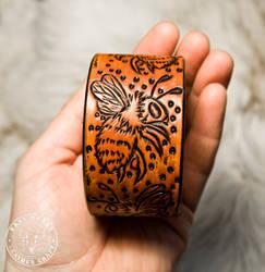Honey Bee Leather Cuff Bracelet by EastCoastLeather