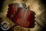 Mjolnir Thor Viking Leather Arm Guard Bracer Cuffs