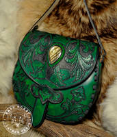 Victorian Floral Leather and Labradorite Purse