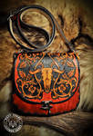 Leather Purse Western Cow Skull