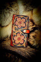 Floral Leather Long Wallet