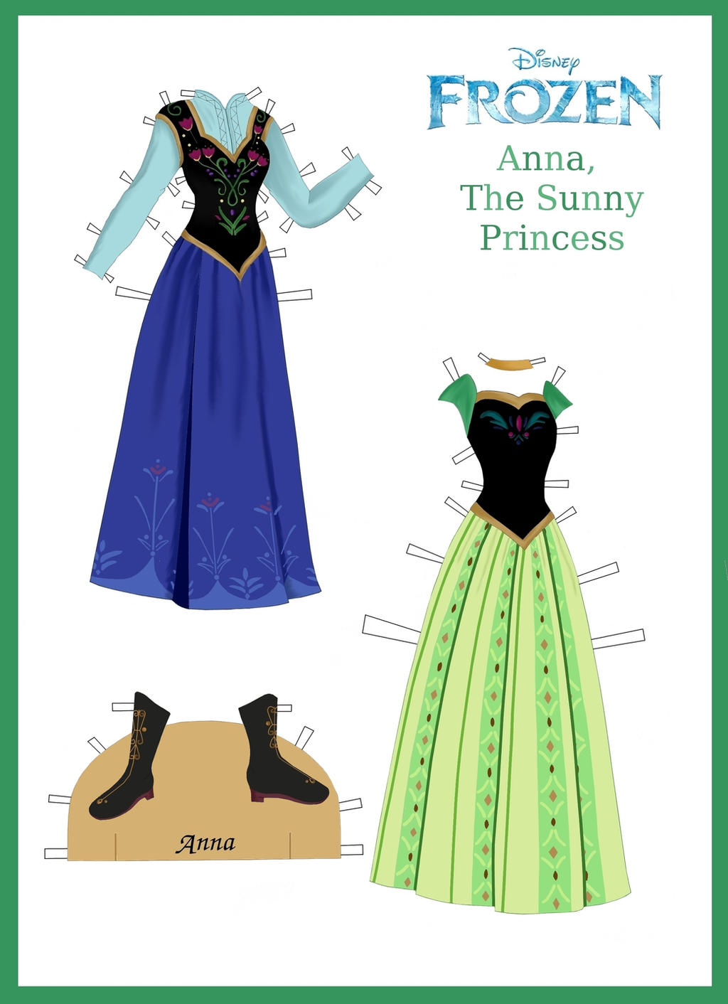 Disney S Frozen Paper Dolls Anna S Outfits By Evelynmckay