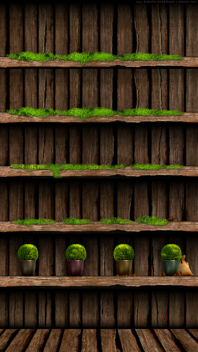 Iphone Wooden Shelf Wallpaper By Bastian1967