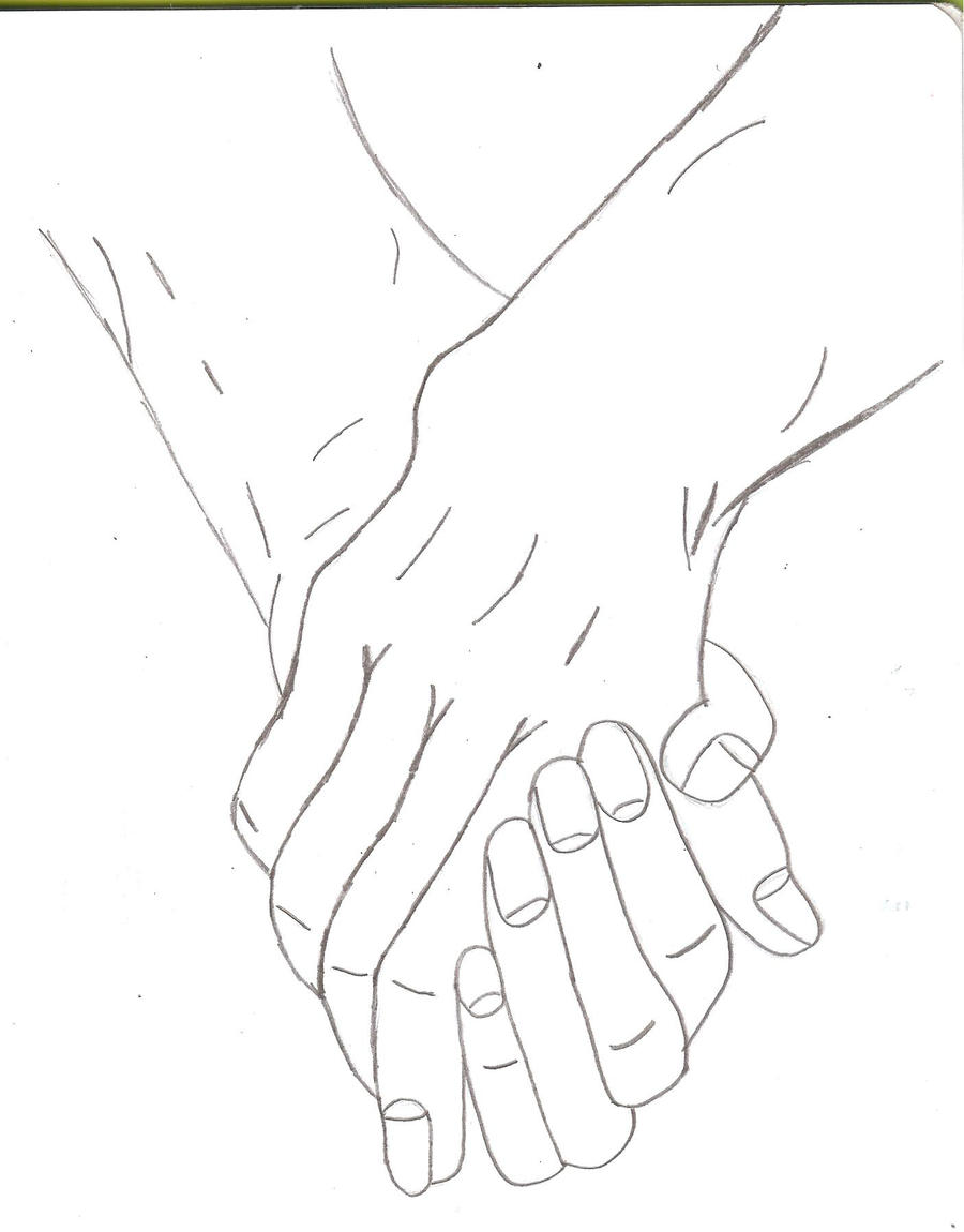 Line Drawing Holding Hands : Two people holding hands by kittyness on deviantart