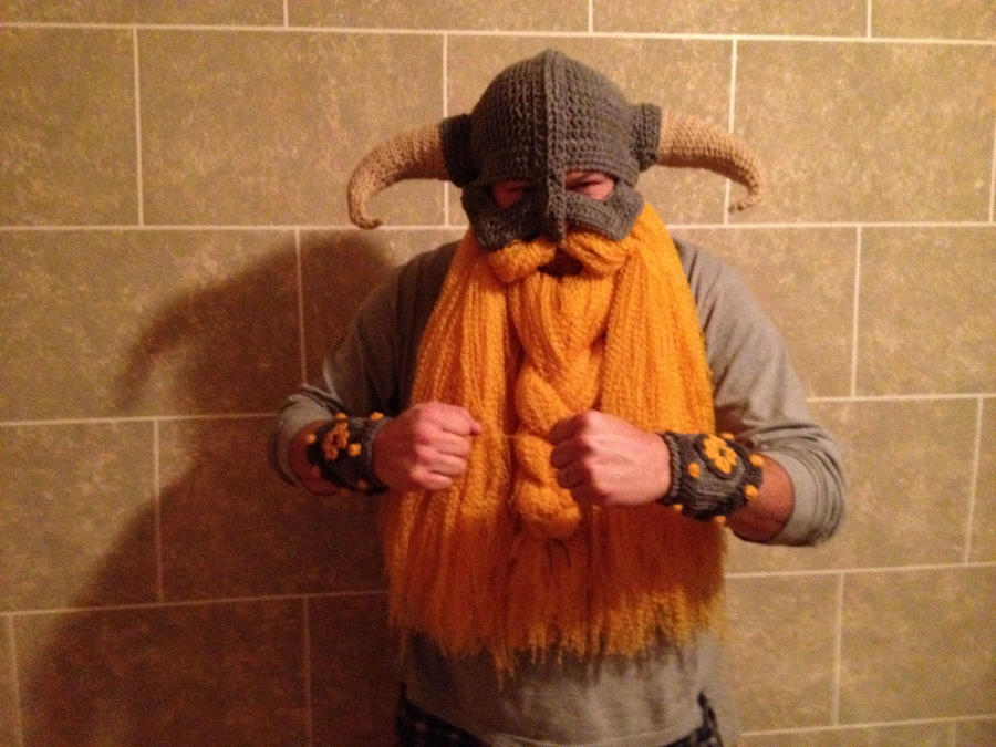 Skyrim inspired crocheted helmet by Drgibbs
