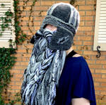 Gray black and silver Celtic helm in wool