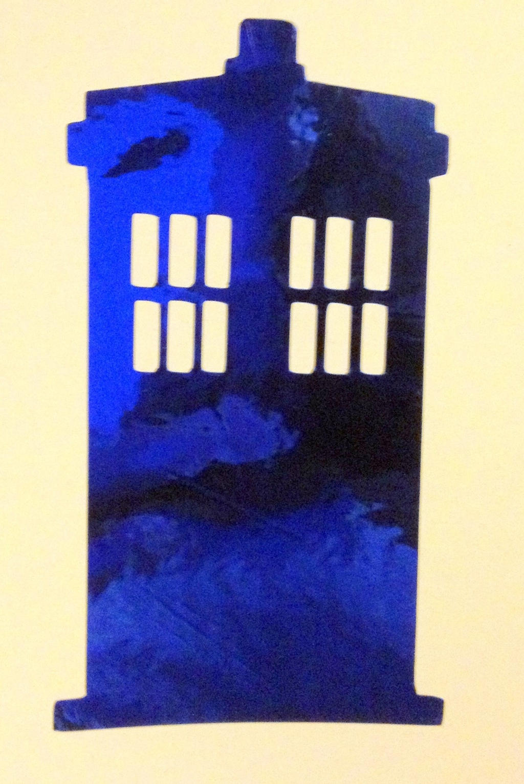 TARDIS inspired Royal Blue Chrome Decal by Drgibbs