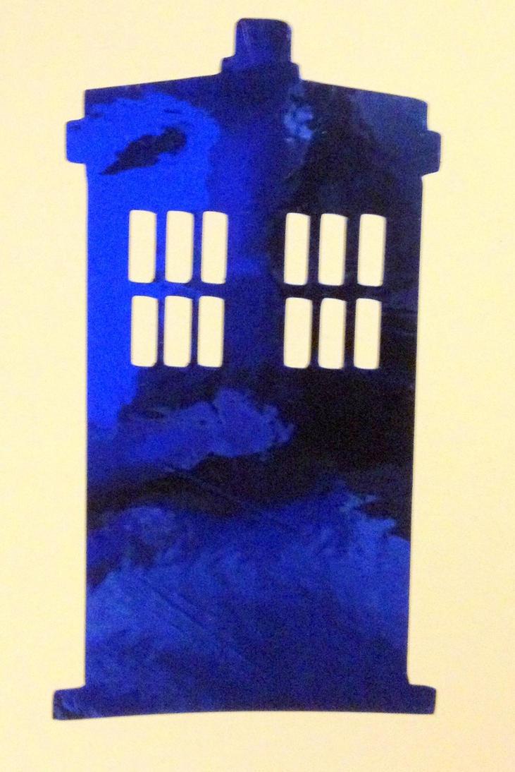 TARDIS inspired Royal Blue Chrome Decal by Drgibbs