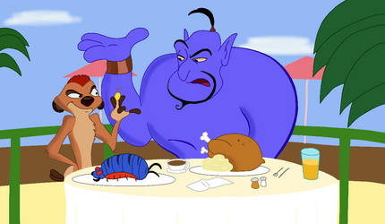Genie and Timon (Coloured) by RobsonDoodle