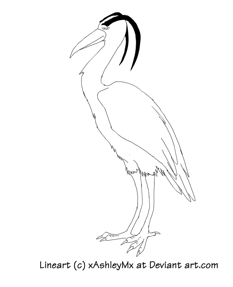 Great blue heron lineart by thecynicalhound on deviantart for Great blue heron coloring page