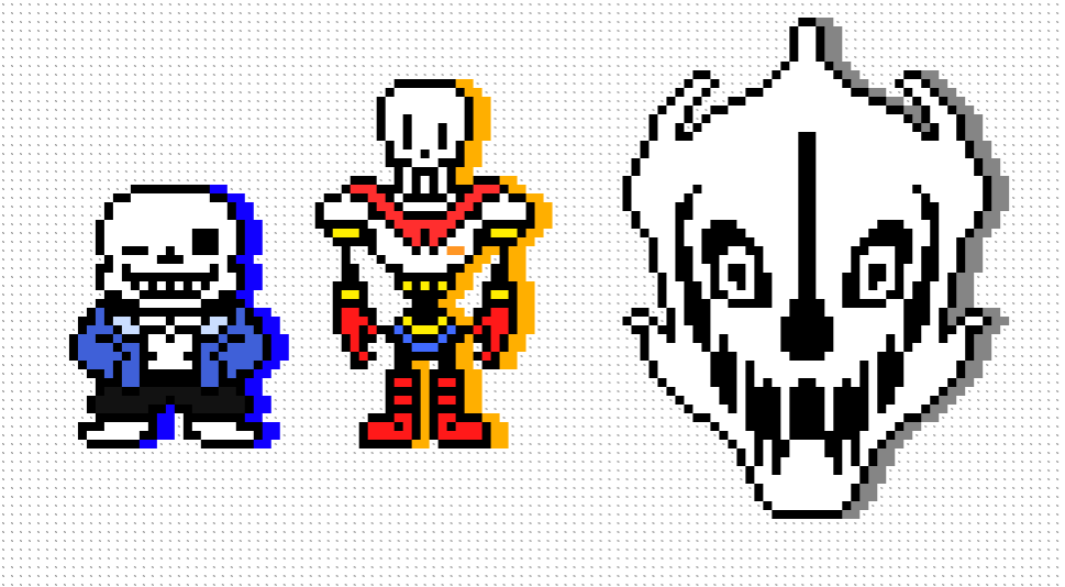 Pixel Art 1 Sans Papyrus And A Gaster Blaster By