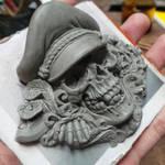 Death Monger buckle sculpture WIP