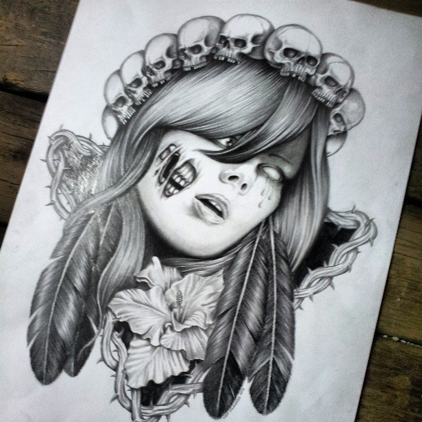 Lady skull pencil drawing by fourspeedindonesia