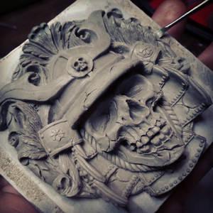 Samurai buckle sculpture WIP part 2
