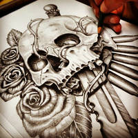 War Hero Skull pencil drawing by fourspeedindonesia