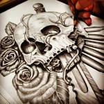 War Hero Skull pencil drawing