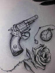 Gun,Flower, Clock by AlanisTea