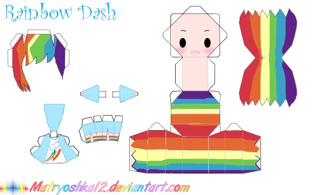 Rainbow Dash Papercraft by matryoshka12