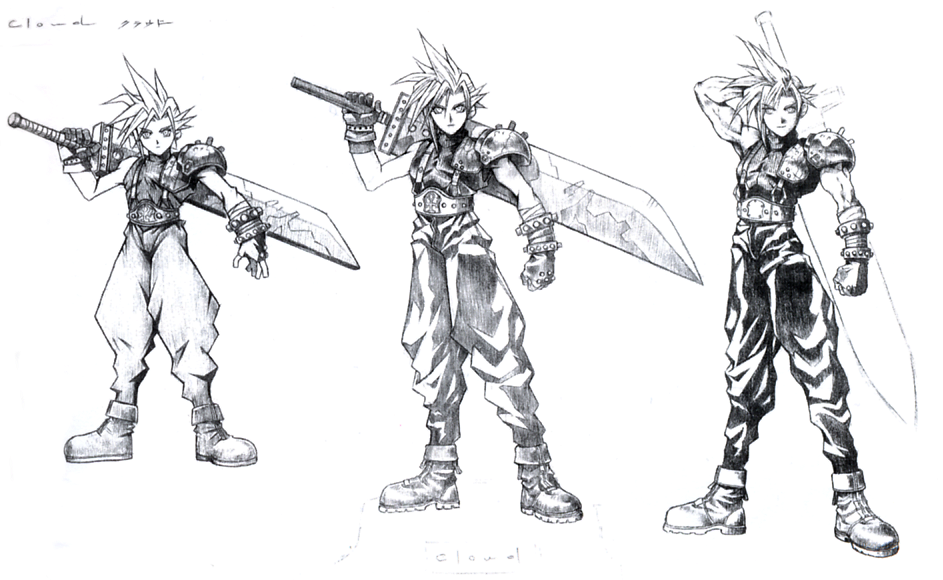Concept Art Ffvii Cloud Strife Sketch By Tangogolfaus On