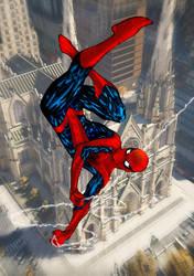 Spider Man Upisde Down Swinging By Spiderguile Dci by alxelder