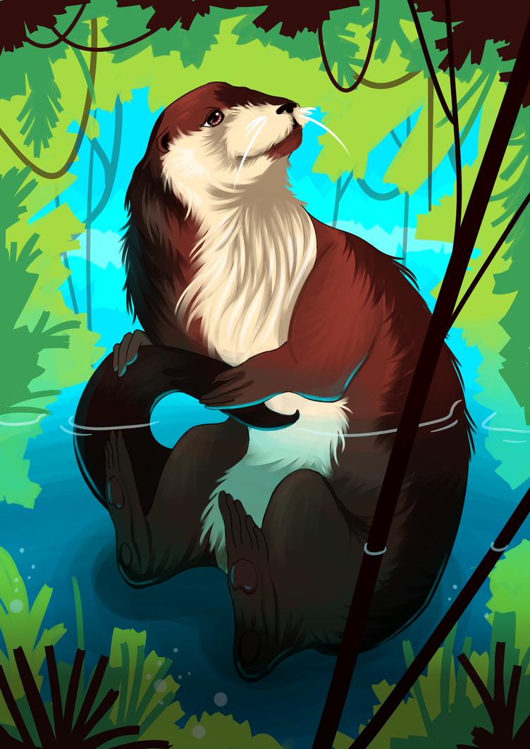 Cute Otter by Olievlek