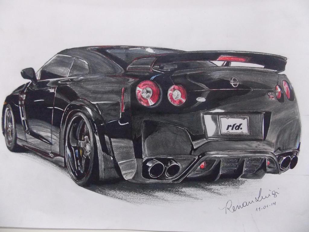 Nissan GT-R Draw - Desenho by RenanLuigi