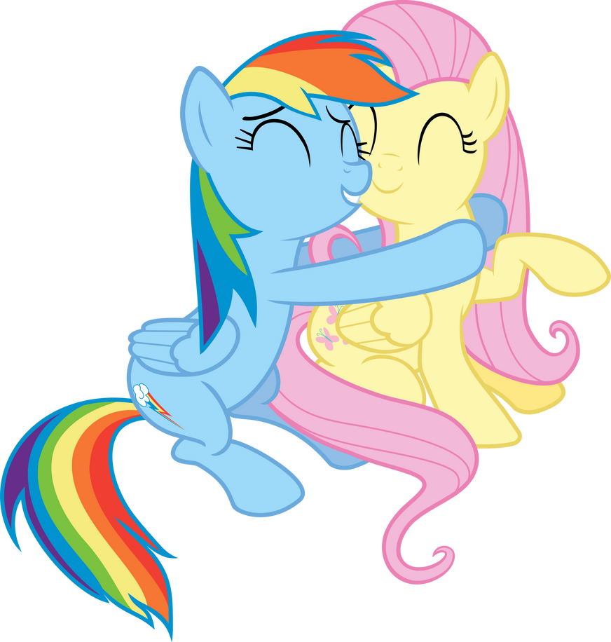 Rainbow Dash and Flutershy Hug Vector by Vulthuryol00