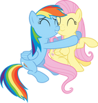 Rainbow Dash and Flutershy Hug Vector
