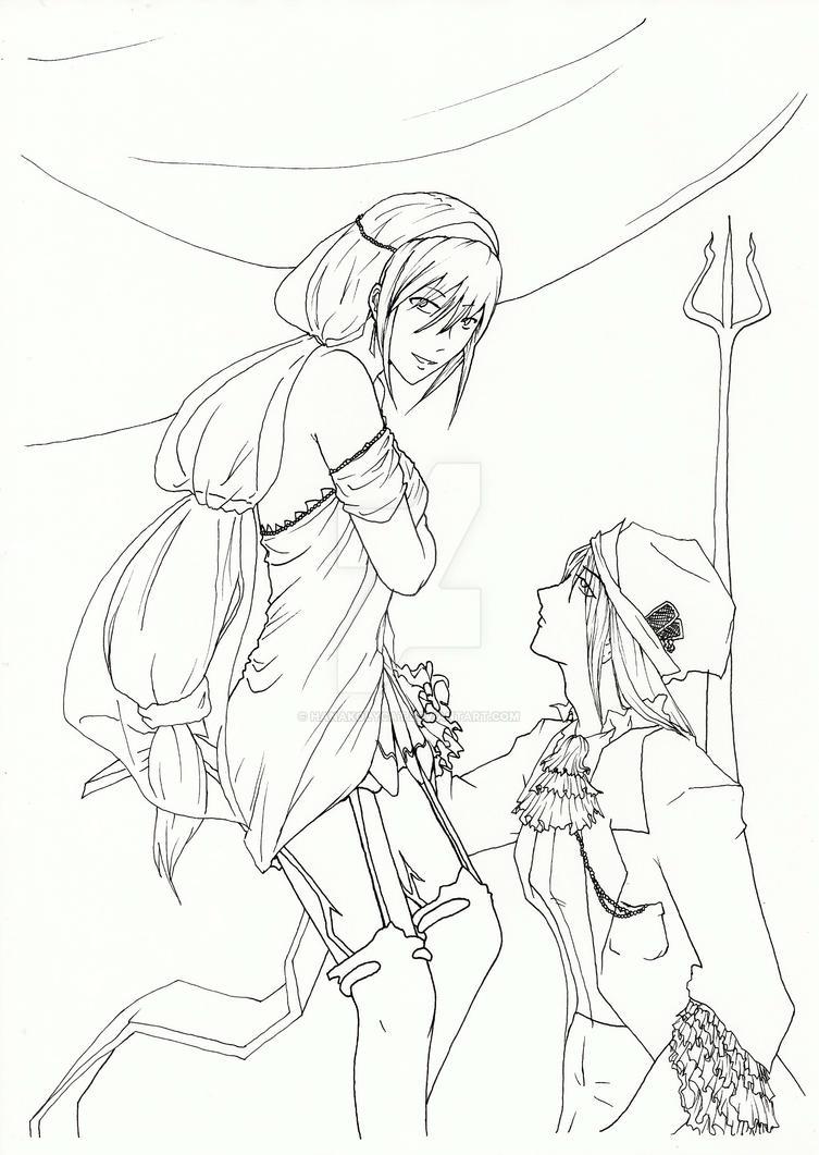 Futuristic lovers - Lineart by HanaKo-Hyuuga