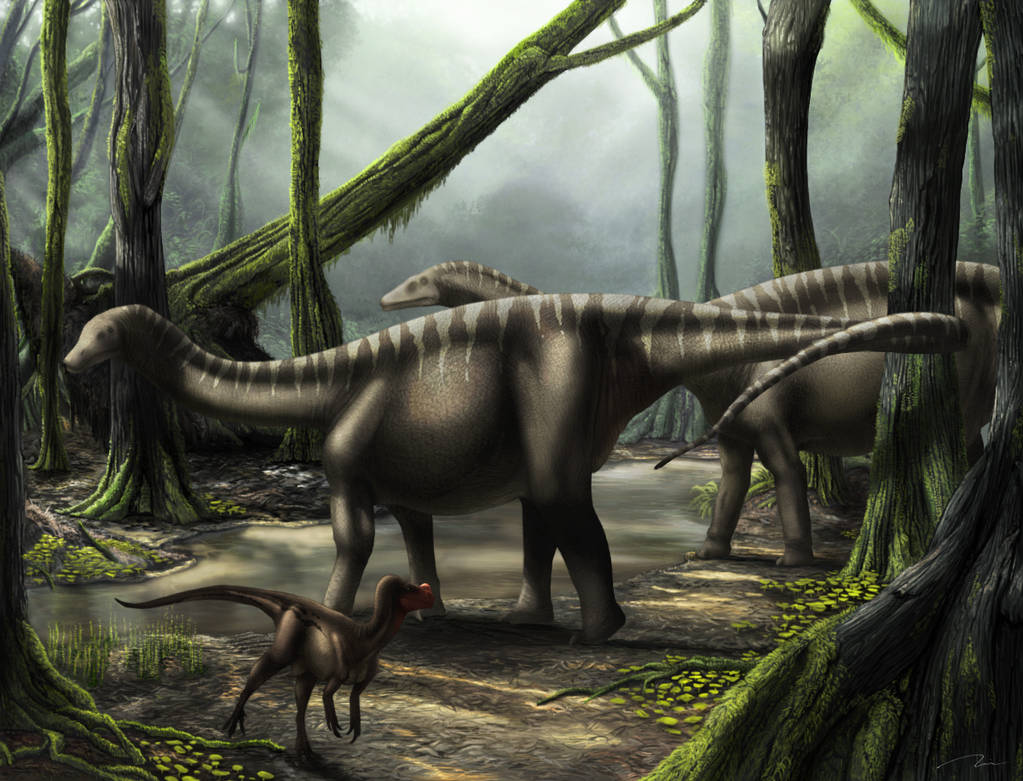 Ornitholestes And Young Sauropods