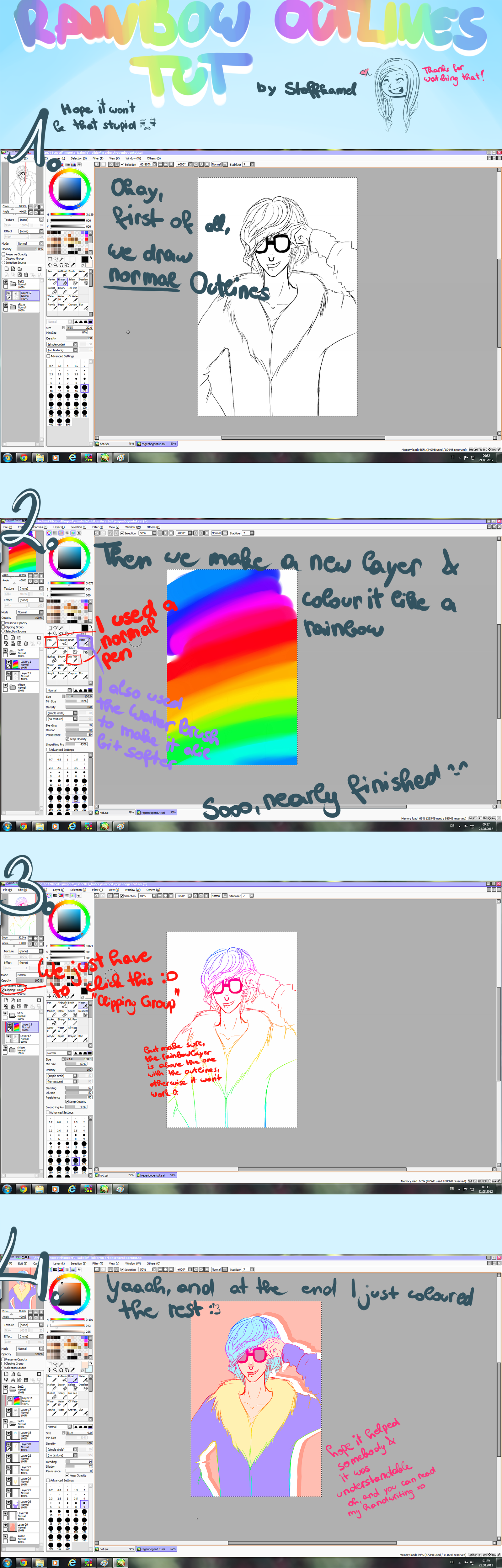 Rainbow-Outlines Tutorial by Stoffkamel