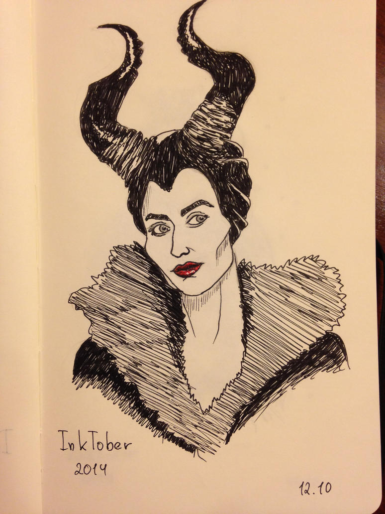 Inktober Day 12 Maleficent by Eminentia