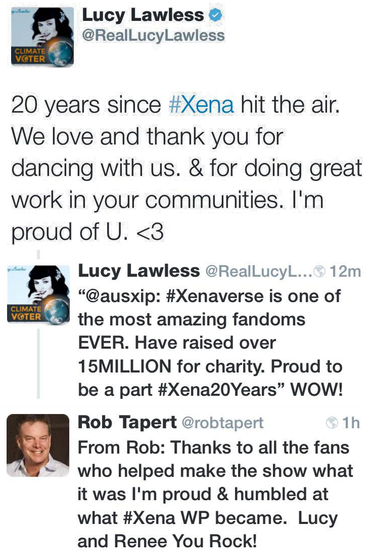 Lucy Lawless and Rob Tapert 20th Xena anniversary by 10animallover10