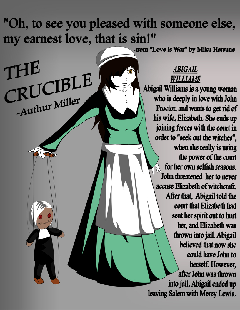 the importance of the abigail williams character in the play the crucible by arthur miller In fact, abigail resents elizabeth because she prevents abigail from being with proctor abigail gives new meaning to the phrase all is fair in love and war she has brooded over her sexual encounter with proctor for seven months.