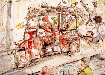 Deadpool vs Gang , watercolor by Ultrafpc