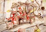 Deadpool vs Gang , watercolor
