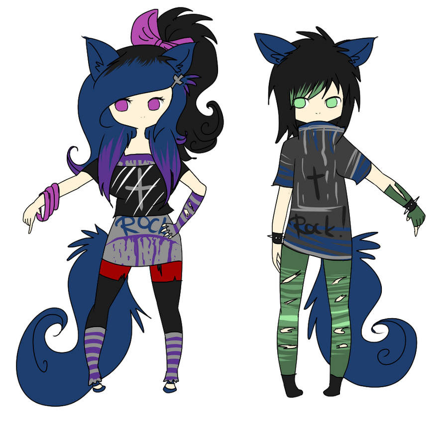 Closed Wolf Punk Girl And Boy ~ Draw To Adopt By Lunax3adoptables