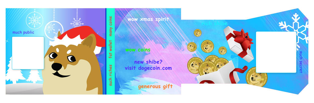 Christmas Shibe Paper Wallet Design for DOGECOIN by pinguino