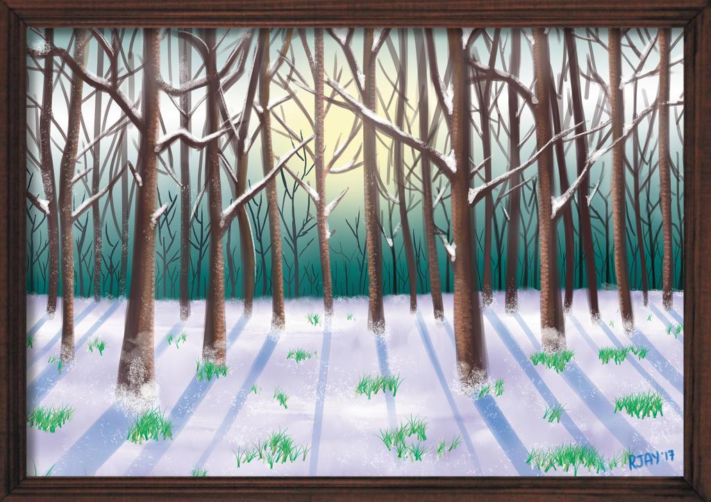 Snowy Forest by JayofArtistika