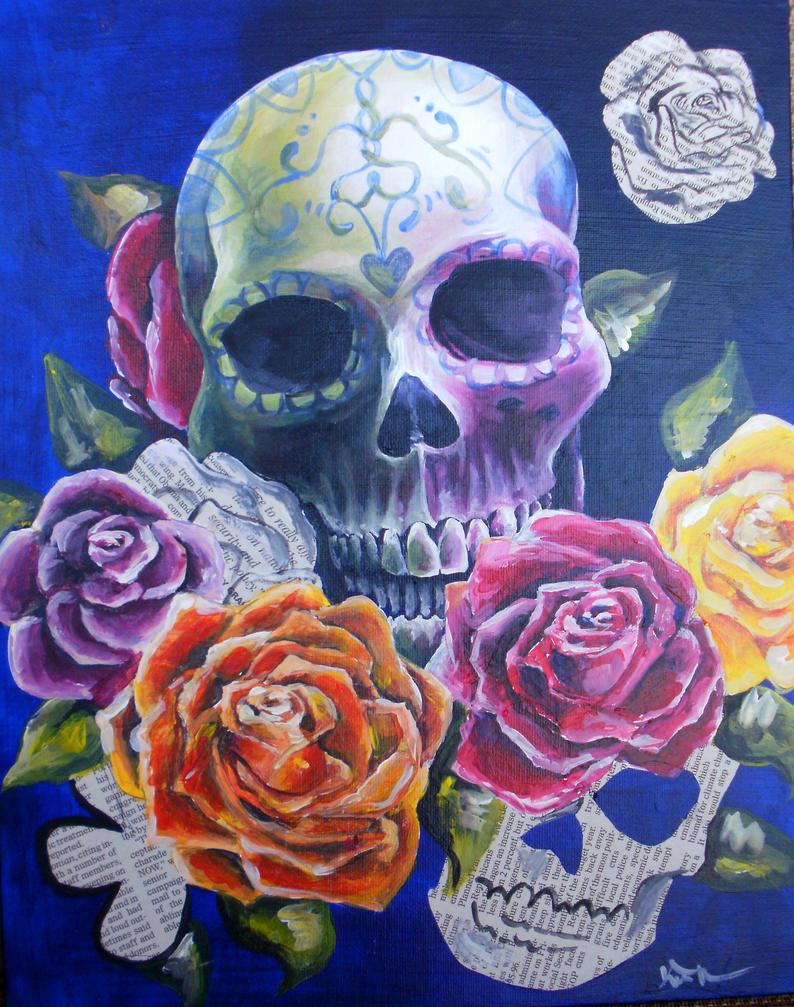 Skulls and Flowers by kmt95 on DeviantArt