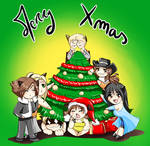 Merry Xmas :3 (Final Fantasy 8 chibi team) by Khaneety