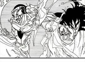 Golden frieza vs Goku by phenomenom9