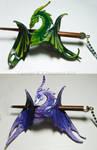 Green and Purple Dragon Hairslides