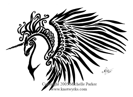 Celtic Tribal Winged Unicorn by MPFitzpatrick