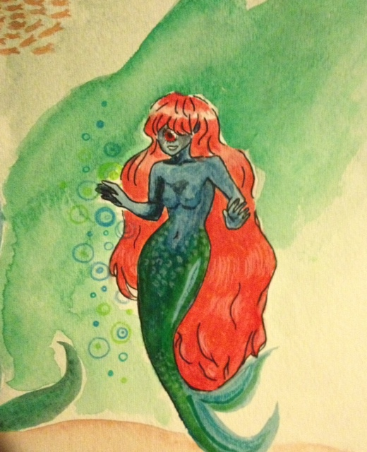 mmmmmermaid cyclops- watercolor by allinson