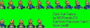 Zamus in Super Mario Kart