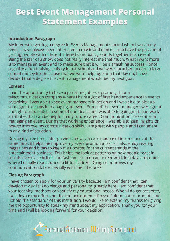 Event Management Personal Statement Example By PS Examples