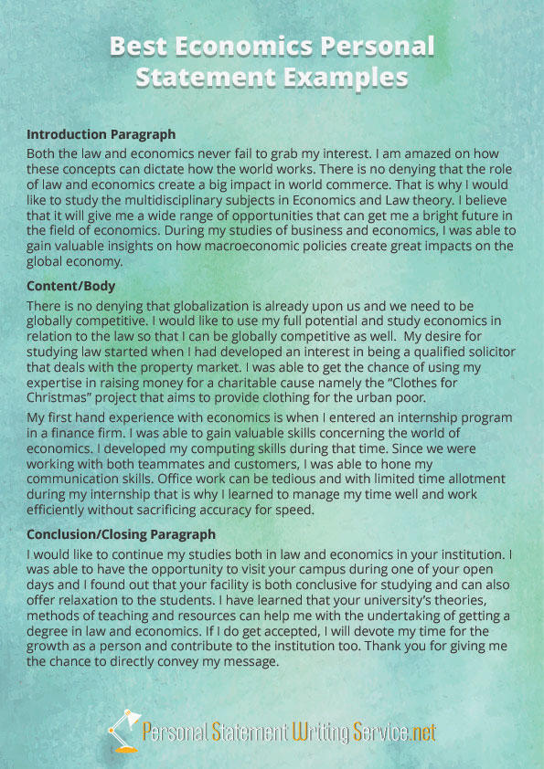 Economics Personal Statement Example By PS Examples On